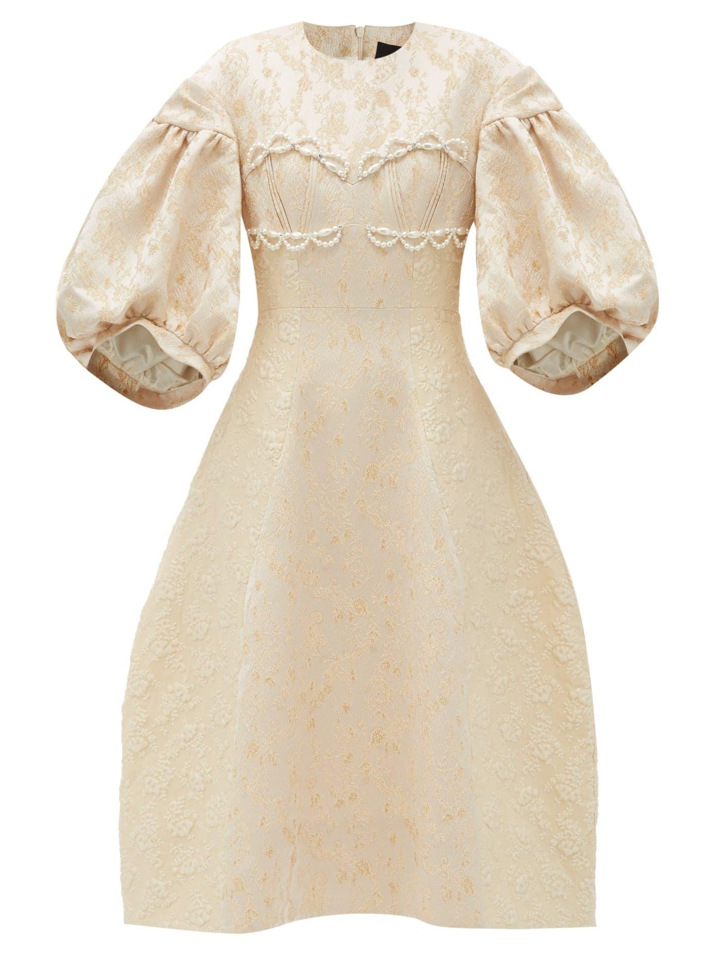 Simone Rocha Cream Brocade Dress Gathered Sleeves