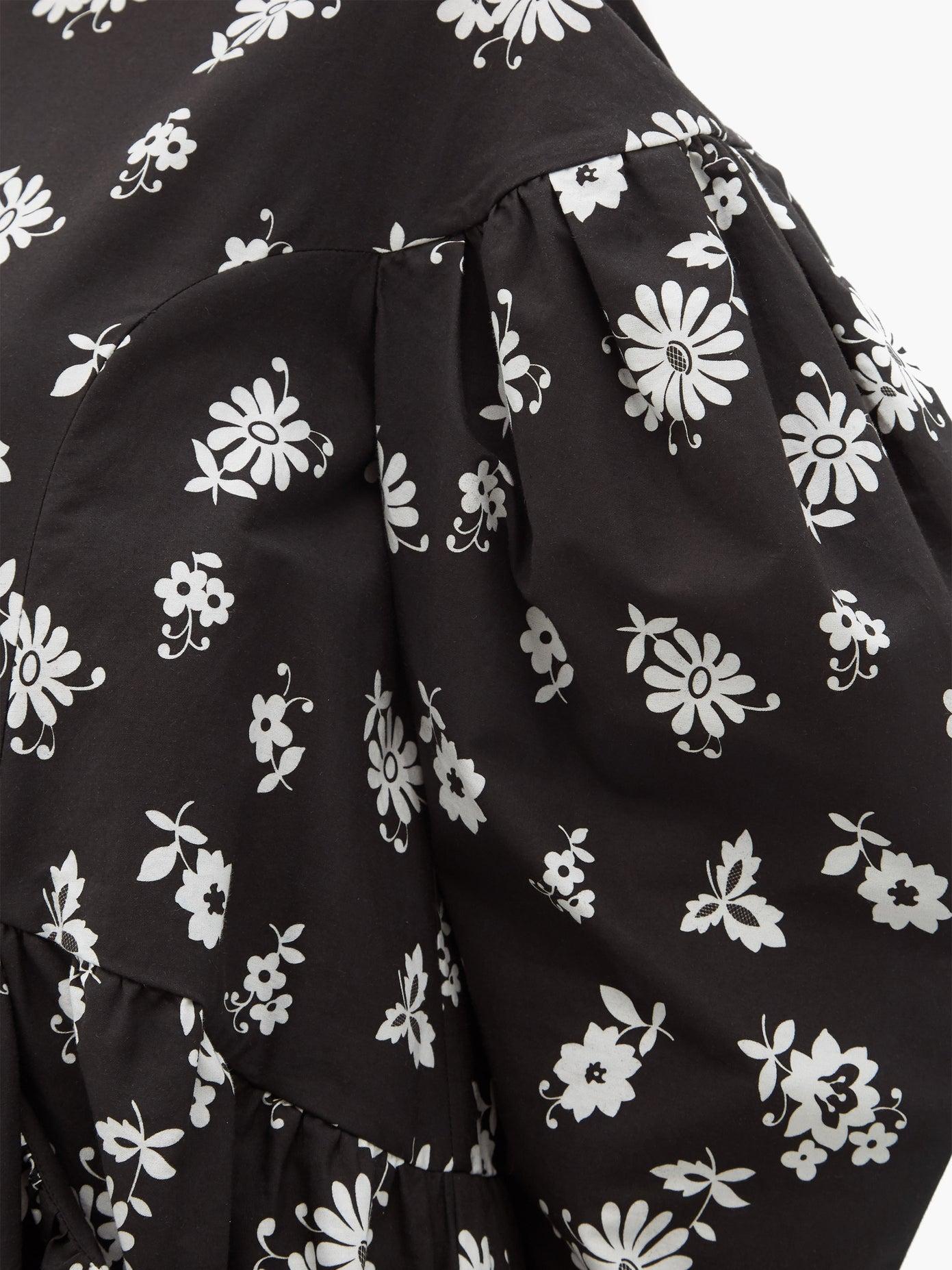 Simone Rocha Black Floral Dress detail
